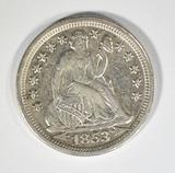 1853 SEATED LIBERTY DIME AU