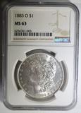 1883-O MORGAN DOLLAR  NGC MS-63