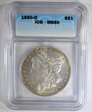1880-O MORGAN DOLLAR  ICG MS-60