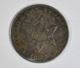 1853 3-CENT SILVER  XF