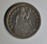 1858-O SEATED LIBERTY DIME  VF