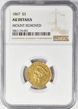 1867 (only 2600 minted!) $3 GOLD PRINCESS NGC AU DETAILS