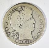 1892-O BARBER HALF DOLLAR  AG