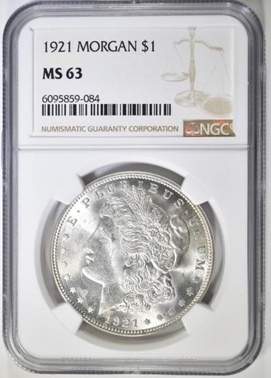 1921 MORGAN DOLLAR NGC  MS 63