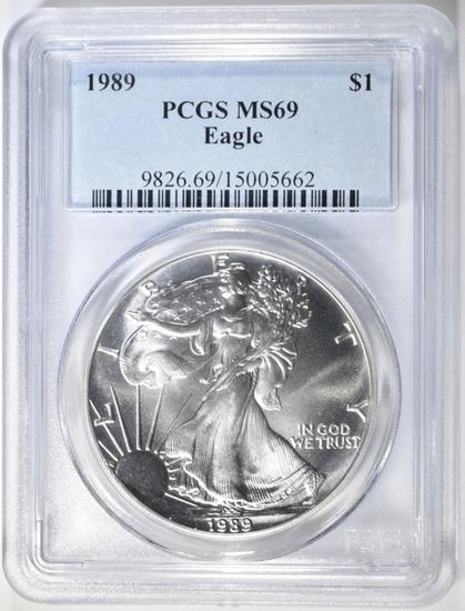 1989 AMERICAN SILVER EAGLE PCGS MS-69