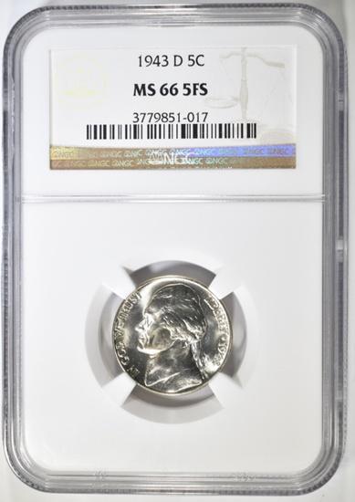 1943-D SILVER JEFFERSON NICKEL NGC MS-66 5FS