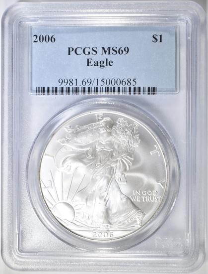 2006 AMERICAN SILVER EAGLE PCGS MS-69