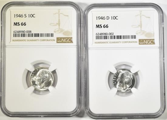 1946-D & S ROOSEVELT DIMES NGC MS-66