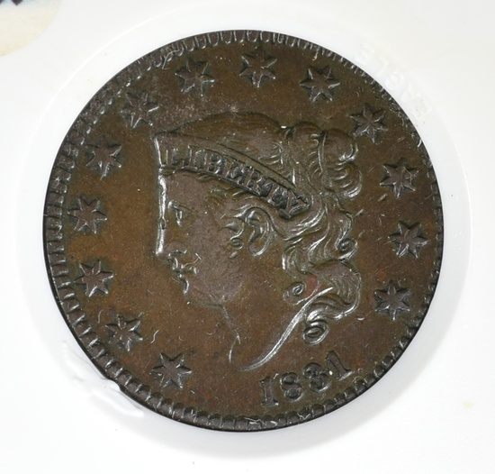1831 LARGE CENT XF