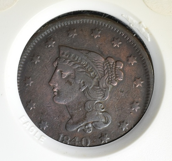 1840 SMALL DATE LARGE CENT XF