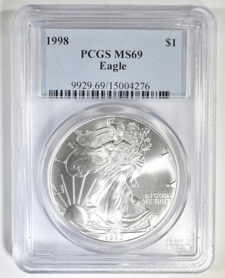 1998 AMERICAN SILVER EAGLE PCGS MS-69