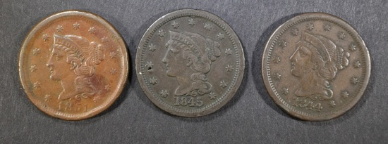 1844, 45, 51 LARGE CENTS VF