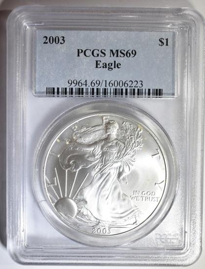 2003 AMERICAN SILVER EAGLE PCGS MS-69