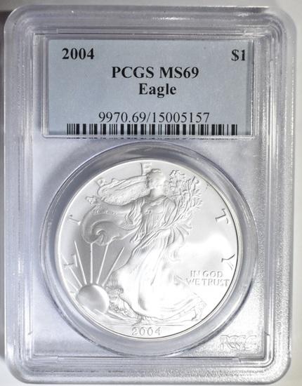 2004 AMERICAN SILVER EAGLE PCGS MS-69