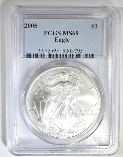 2005 AMERICAN SILVER EAGLE PCGS MS-69