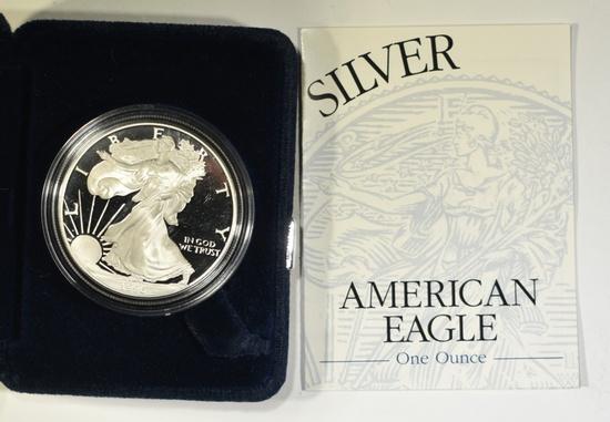 1996-P PROOF AMERICAN SILVER EAGLE ORIG BOX/COA