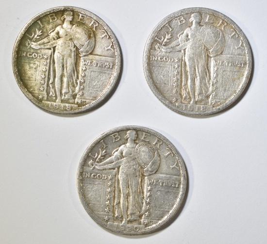 2-1918 & 1 1920 STANDING LIBERTY QUARTERS VF
