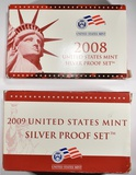 2008 & 2009 U.S. MINT SILVER PROOF SETS