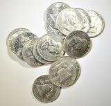 (14) UNC FRANKLIN HALF DOLLARS  1960-1963
