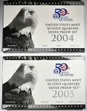 2004 & 2005 U.S. SILVER QUARTER PROOF SETS