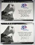 2006 & 2007 U.S. SILVER QUARTER PROOF SETS