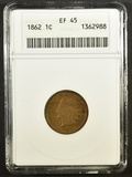 1862 INDIAN HEAD CENT  ANACS EF-45