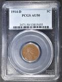 1914-D LINCOLN CENT  PCGS AU-50  RARE KEY