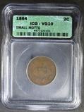 1864 SMALL MOTTO 2 CENT PIECE ICG VG-10