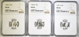 1953-S,54-S,55-S ROOSEVELT DIMES NGC MS-66