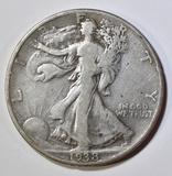 1938-D WALKING LIBERTY HALF DOLLAR, F/VF