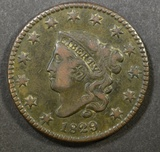 1829 LARGE CENT  XF