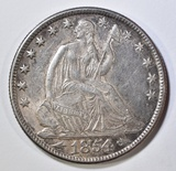1854-O SEATED LIBERTY HALF DOLLAR  NICE ORIG UNC