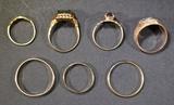 7 10K GOLD RINGS VARIOUS SIZES