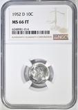 1952-D ROOSEVELT DIME NGC MS-66 FT