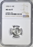 1955-S ROOSEVELT DIME NGC MS-66 FT