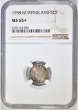 1938 NEWFOUNDLAND SILVER 5 CENTS  NGC MS-65+
