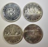 4 GEM BU CANADA SILVER DOLLARS: