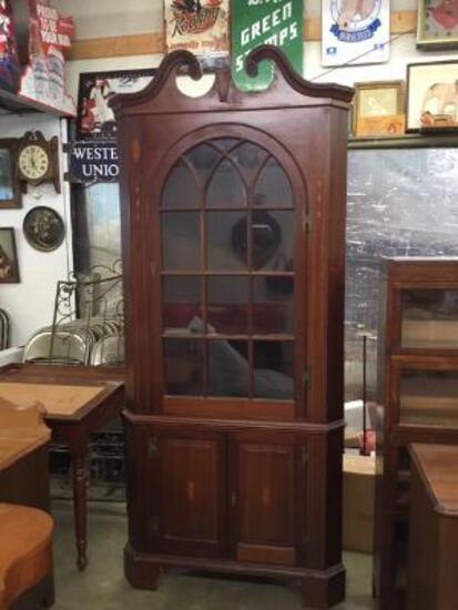 Mahogany Corner Cabinet With Inlay