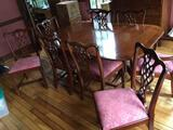 Banded Mahogany Table with 8 Chairs, 2 Leaves