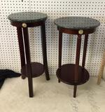 2 Faux Marble Top Plant Stands
