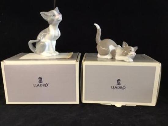 2 Lladro cats