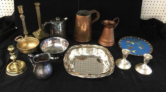 Copper, Silverplate, Brass, Sterling Candlesticks