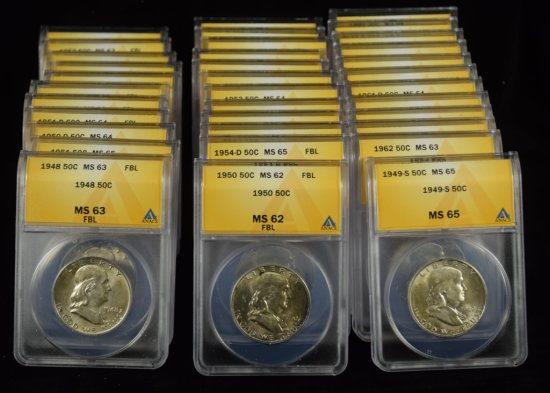 Complete Set Franklin Half Dollars ANACS MS-65/66 FLB's
