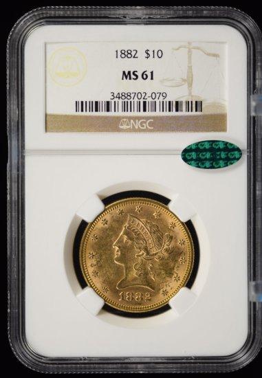 1882 $10 Gold Liberty NGC MS-61