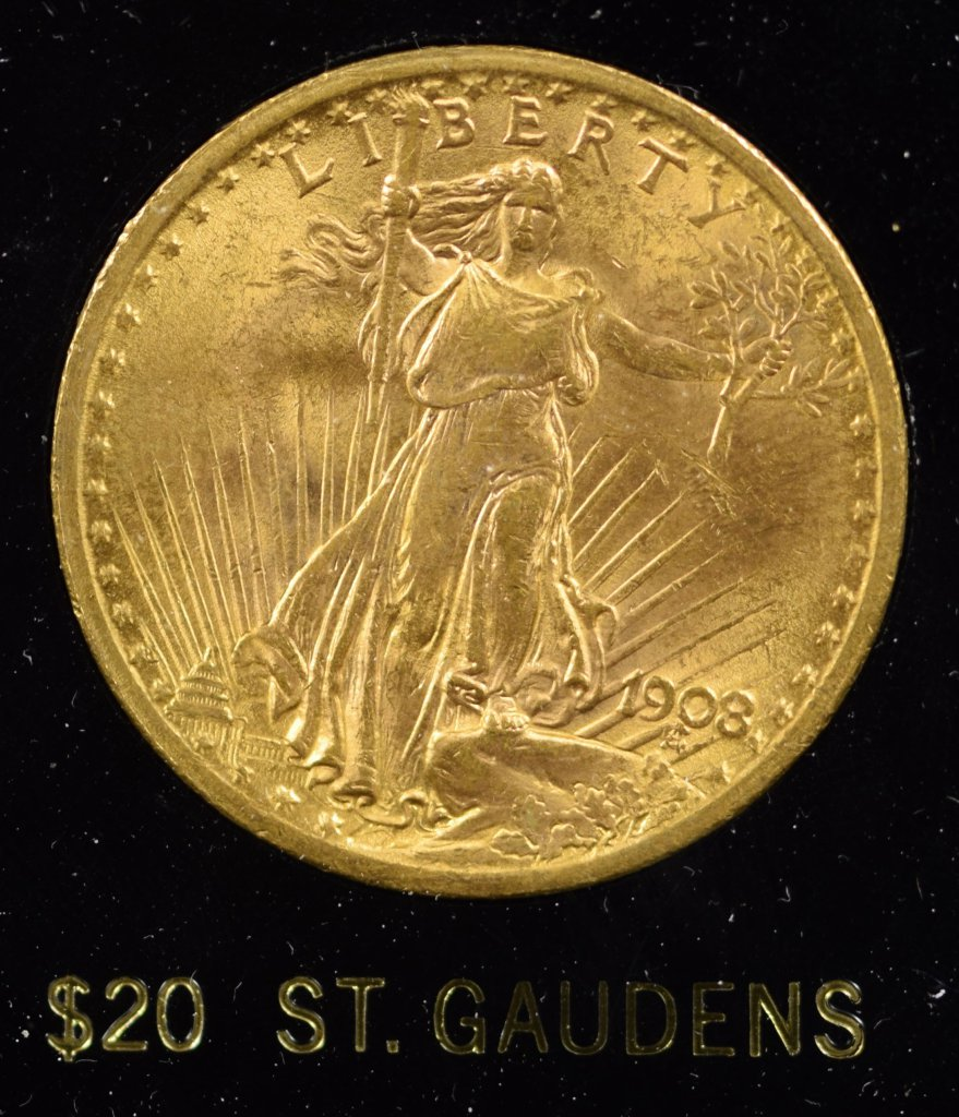 1908 $20 Gold St Gaudens BU
