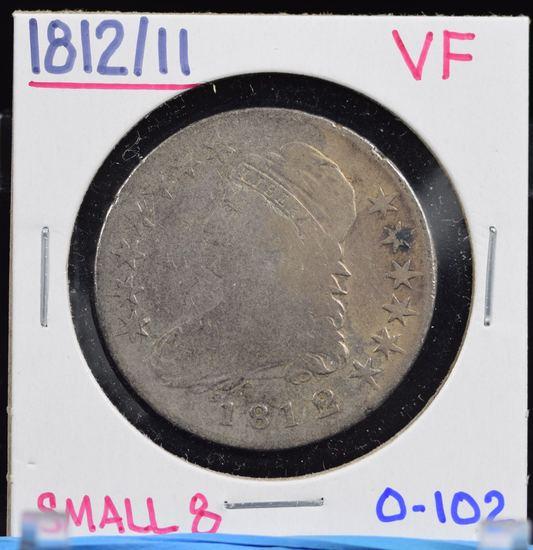1812/11 Bust Half Dollar VF 0-102 Small 8