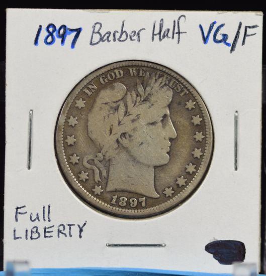 1897 Barber Half Dollar Full Liberty VG/F