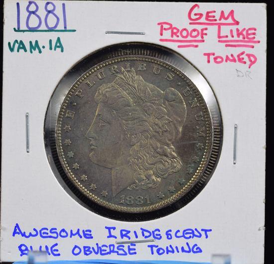 1881 Morgan Dollar GEM BU with PL OBV Awesome Toning