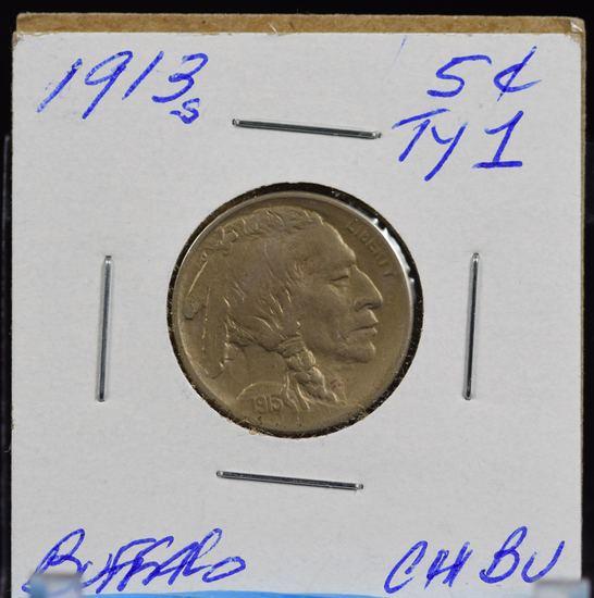 1913-S Type 1 Buffalo Nickel CH BU Lite Tone Better Date Well Struck