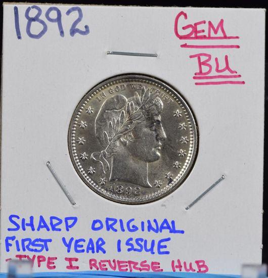 1892 Barber Quarter GEM BU Type 1 Reverse